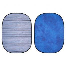 INTERFIT PB404 Pop-Up skládací pozadí 1,5x2m šedé prkno/modrá