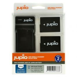 JUPIO Single Charger + 2 x OLYMPUS BLS-5/50 1210 mAh