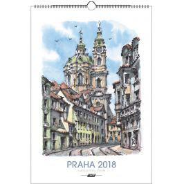 Kalendář Leon - PRAHA 2019 akvarel nástěnný mini