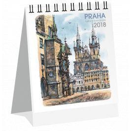 Kalendář Leon - PRAHA 2019 akvarel stolní micro