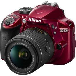 NIKON D3400 červený + 18-55 AF-P VR