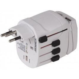 SKROSS cestovní adaptér USB,10A max., uzemněný, vč. USB nabíjení 2x výstup 2100m