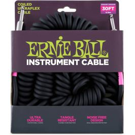 Ernie Ball 30' Coil Cable Straight/Straight Black