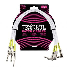 Ernie Ball 1.5' Patch Cable Straight/Angle White - 3 Pack