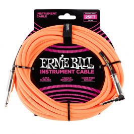 Ernie Ball 25' Braided Cable Neon Orange