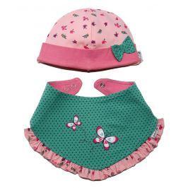 Gelati Dívčí set čepičky a šátku s motýlkem - růžovo-zelený