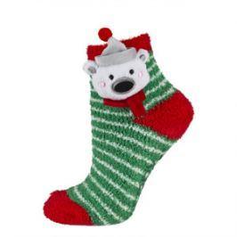 SOXO® Dětské vánoční ponožky s medvídkem - zeleno-červené
