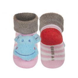 SOXO® Dívčí pruhované ponožky s hrošíkem - růžové