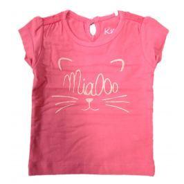 Carodel Dívčí tričko s kočičkou - tmavě růžové