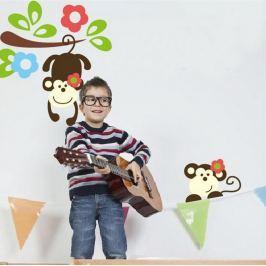 MaDéco Nástěnná samolepka Opičky a kytičky