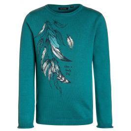 Blue Seven Dívčí svetr s peříčky - zelený