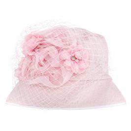 Bexa Dívčí klobouček Veil s kvštinou - růžový