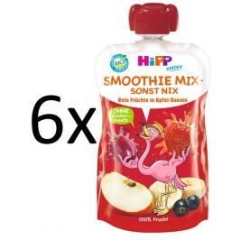 HiPP BIO Smoothie Jablko-Banán-Červené ovoce 6 x 120 ml