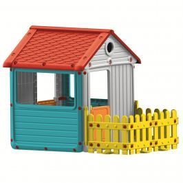 DOLU Dětský zahradní domeček s plotem, plastový, modrý