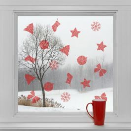 Housedecor Samolepky na sklo Červené dekorace