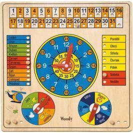 WOODY Víceúčelový kalendář s hodinami a barometrem