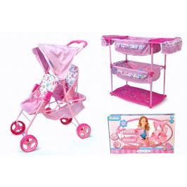 Hauck Sada pro panenky dvojčata kočárek + postýlka + židlička