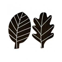 Little Lovely Company Dřevěné háčky Černé lístky, 2 ks