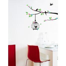 Ambiance Dekorační samolepka Ptáčči na rozkvetlém stromě