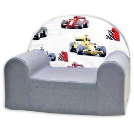 Baby Nellys Dětské křesílko Závody Formulí v šedé