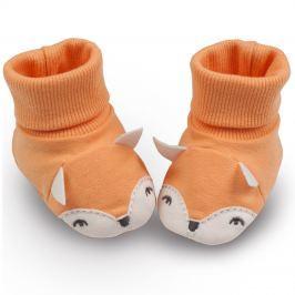 Pinokio Dětské capáčky/ponožky s liškou - oranžové