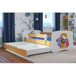 Ourbaby Dětská postel se zábranou ZOO, 140x70 cm