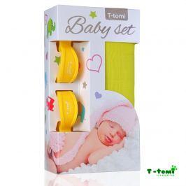 T-tomi Baby set - bambusová osuška žlutá + kočárkový kolíček žlutý