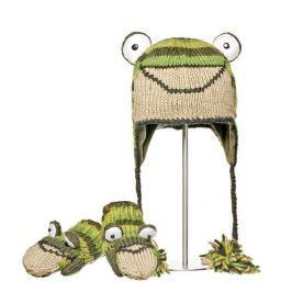 Knitwits Dětský set čepice a rukavic Žába - zeleno-béžový
