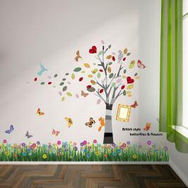 Walplus Samolepky na zeď Tráva s motýlky/Barevný rámeček