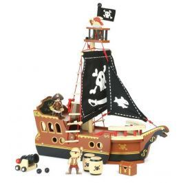 Vilac Dřevěný hrací set piráti - Pirátská loď
