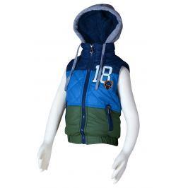 PIDILIDI Chlapecká prošívaná pruhovaná vesta s kapucí - modrá
