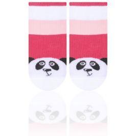 STEVEN Dívčí ponožky pruhované s pandou -  červené