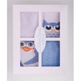 STEVEN Sada dětských ponožek s tučňáky a sovami 4 páry - modré a bílé