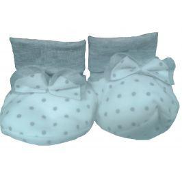 Lafel Dívčí puntíkované ponožky/capáčky Cat - bílo-šedé