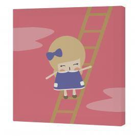 Happynois Nástěnný obraz Moon Dream - holčička na žebříku, 27x27 cm