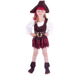 Rappa Karnevalový kostým pirátka, klobouk, boty, vel. XS (104-110)