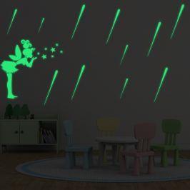 Walplus Svítící samolepka na zeď Meteorický déšť a Víla s hvězdami