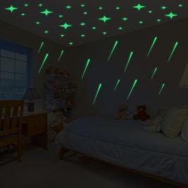 Walplus Svítící samolepka na zeď Meteorický déšť a Hvězdná obloha