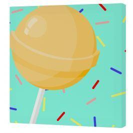 Mr. FOX Nástěnný obraz Candy house - žluté lízátko, 27x27 cm