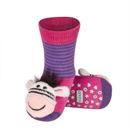 SOXO® Dívčí protiskluzové ponožky se zebrou - růžové