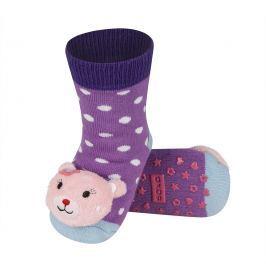 SOXO® Dívčí protiskluzové ponožky s kočkou - fialové