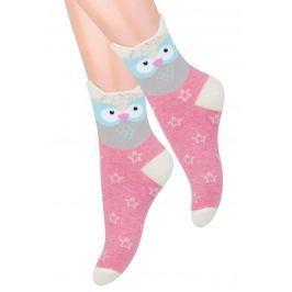 STEVEN Dívčí ponožky se sovičkou - růžové