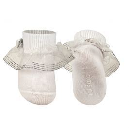 SOXO® Dívčí ponožky s volánkem a mašličkou - bílo-stříbrné