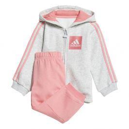 adidas Dívčí tepláková souprava Hood - šedo-růžová