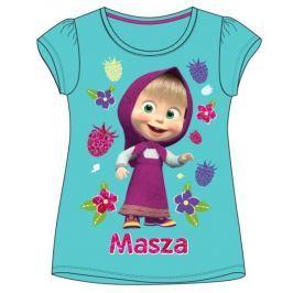 E plus M Dívčí tričko Máša a medvěd - tyrkysové
