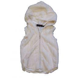 Carodel Dívčí chlupatá vesta s kapucí  - béžová