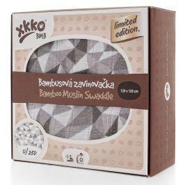 XKKO Bambusová zavinovačka Limited Edition 120x120 cm, Stříbrné trojúhelníky