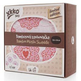 XKKO Bambusová zavinovačka Limited Edition 120x120 cm, Retro srdíčka