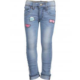 Blue Seven Dívčí džíny s nášivkami - světle modré