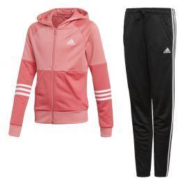 adidas Dívčí tepláková souprava - růžovo-černá